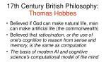 17th century british philosophy thomas hobbes