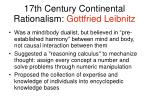 17th century continental rationalism gottfried leibnitz