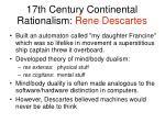 17th century continental rationalism rene descartes