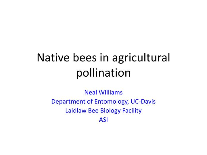 native bees in agricultural pollination n.