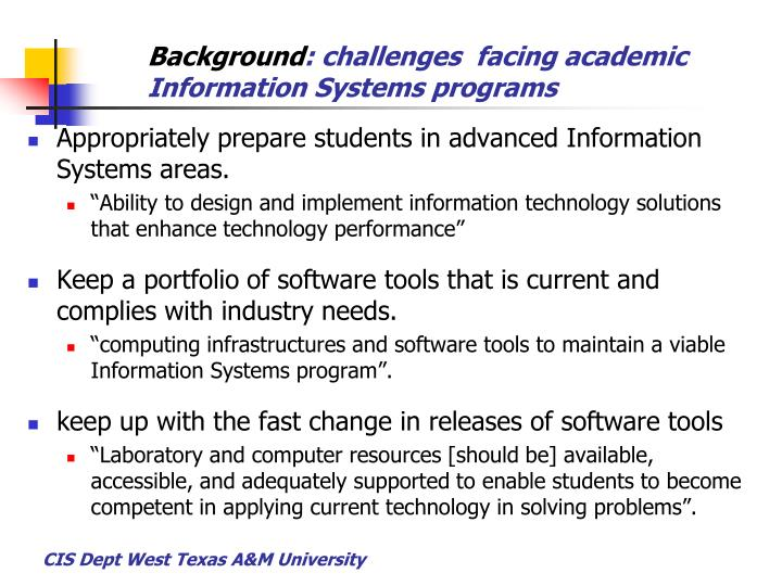 Background challenges facing academic information systems programs