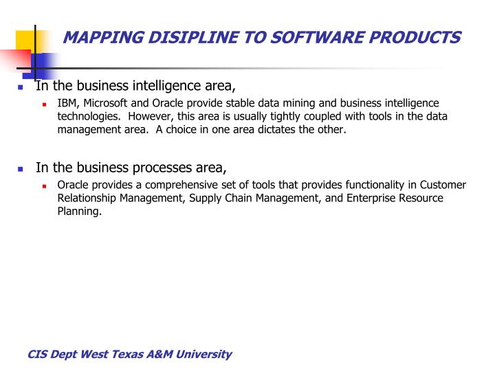 MAPPING DISIPLINE TO SOFTWARE PRODUCTS