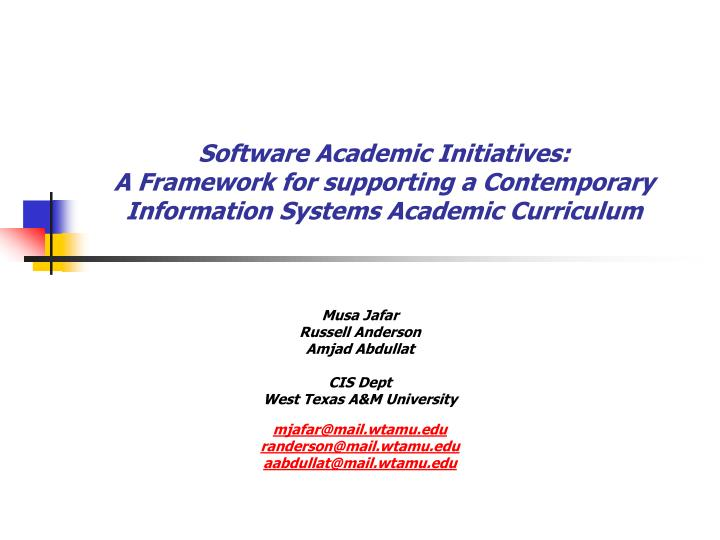 Software Academic Initiatives: