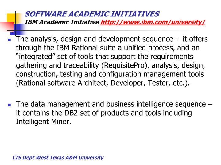 SOFTWARE ACADEMIC INITIATIVES