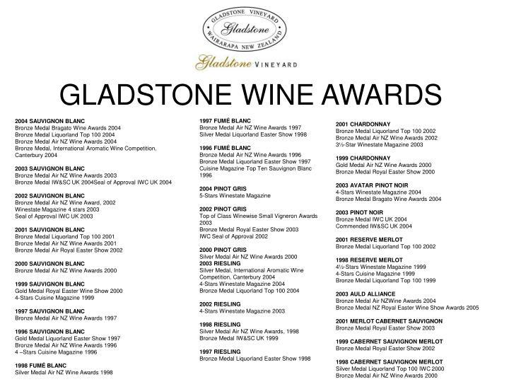 GLADSTONE WINE AWARDS