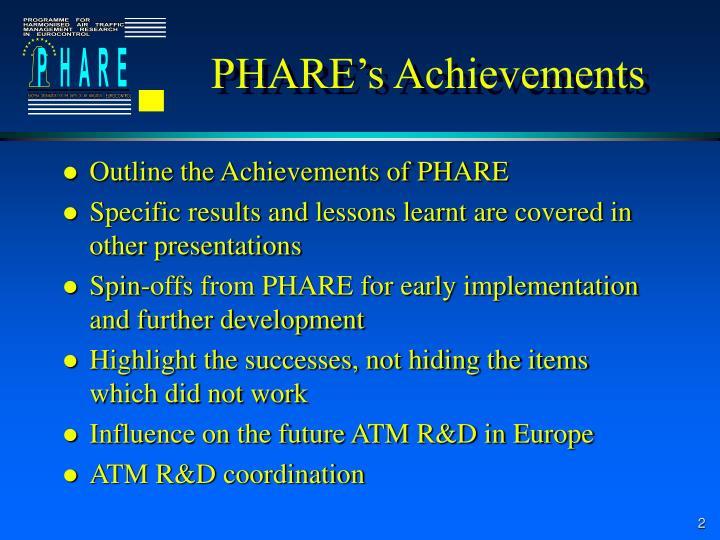Phare s achievements