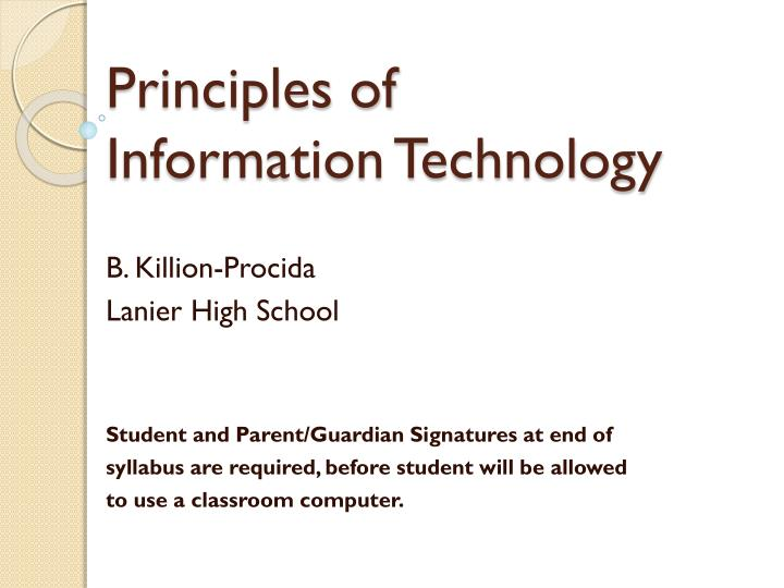 principles of information technology n.