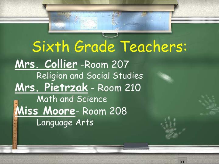 Sixth grade teachers