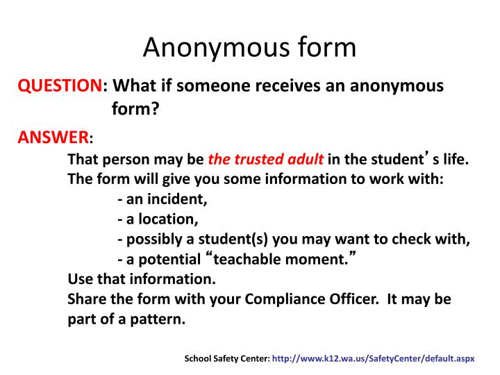 Anonymous form