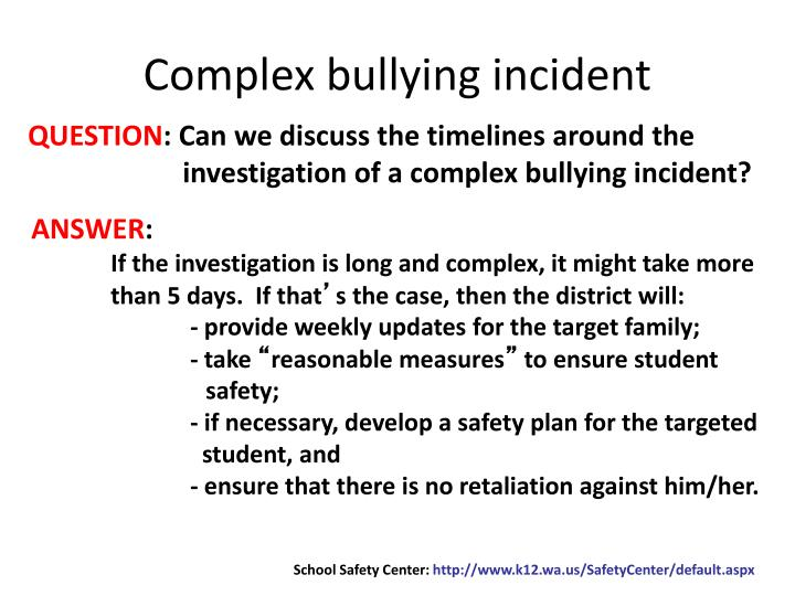Complex bullying incident