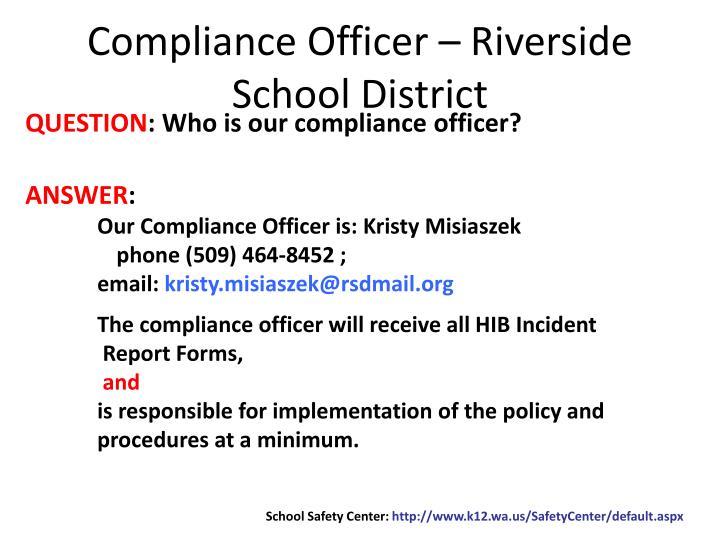 Compliance Officer – Riverside School District