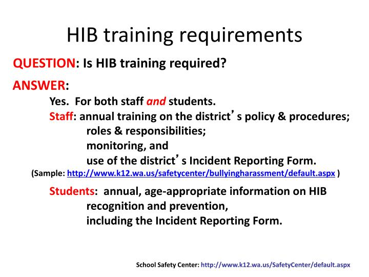 HIB training requirements