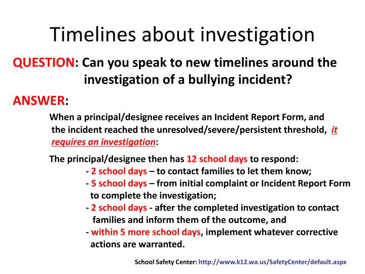 Timelines about investigation
