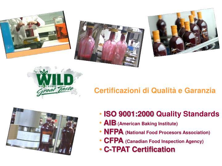 Certificazioni di Qualità e Garanzia