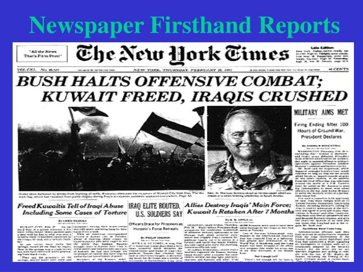 Newspaper Firsthand Reports