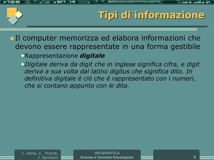 Tipi di informazione