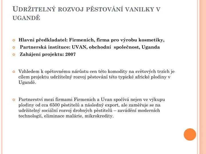 Udr iteln rozvoj p stov n vanilky v ugand