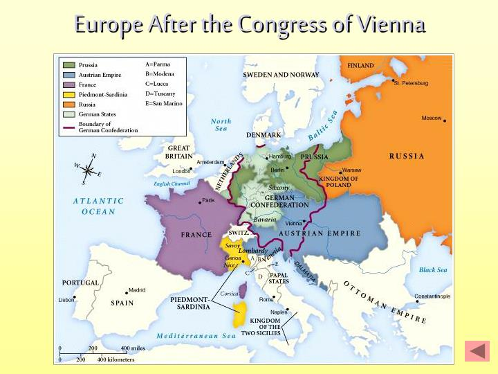 the congress of vienna has finally attained peace in europe The great congress of vienna, between sept 1814 - 9 june 1815, after that france had surrender in may 1814 (napoleon was finally defeated at waterloo 18 june 1815) it was a conference with.