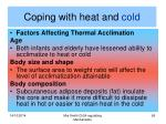coping with heat and cold