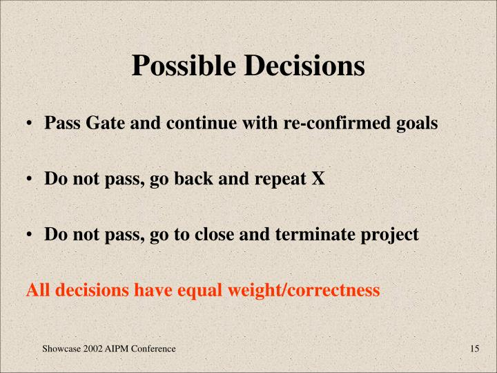 Possible Decisions