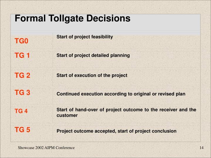 Formal Tollgate Decisions