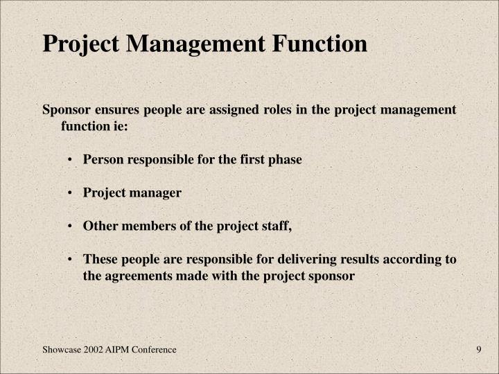 Project Management Function