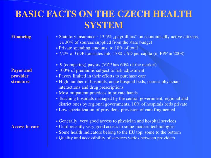basic facts on the czech health system n.