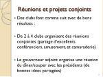 r unions et projets conjoints