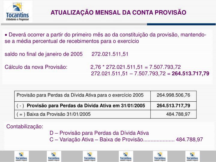 Provisão para Perdas da Dívida Ativa para o exercício 2005