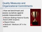 quality measures and organizational commitments