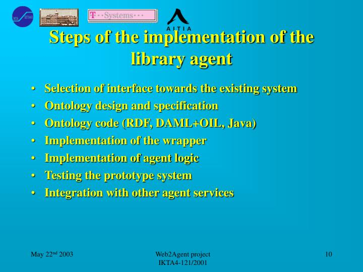 Steps of the implementation of the library agent