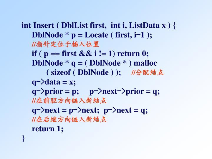 int Insert ( DblList first,  int i, ListData x ) {