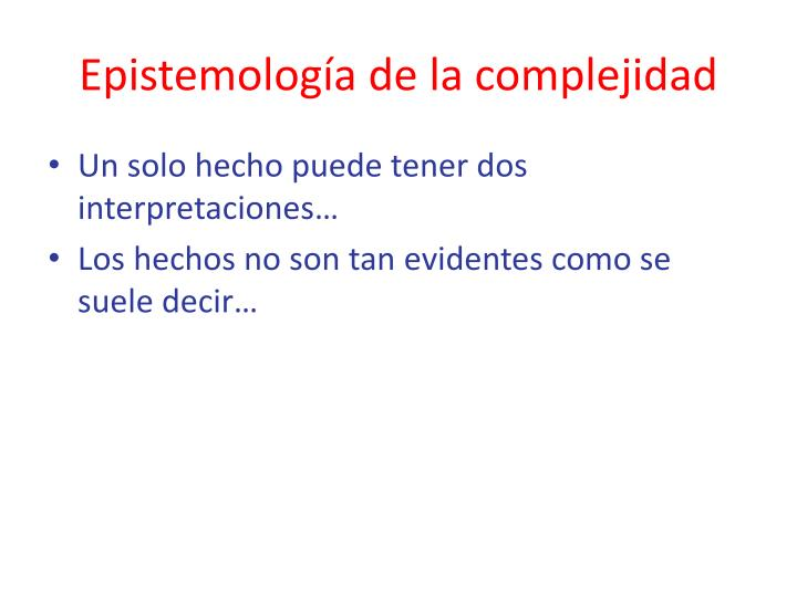 Epistemología de la complejidad