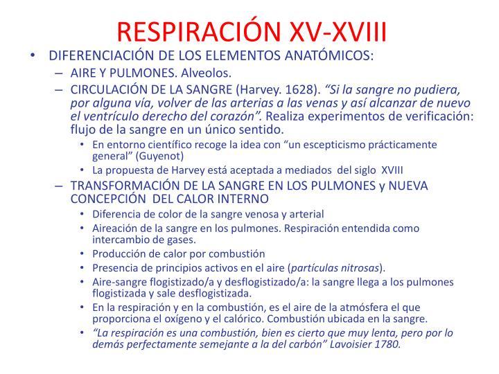 RESPIRACIÓN XV-XVIII