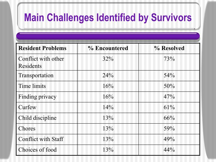 Main Challenges Identified by Survivors