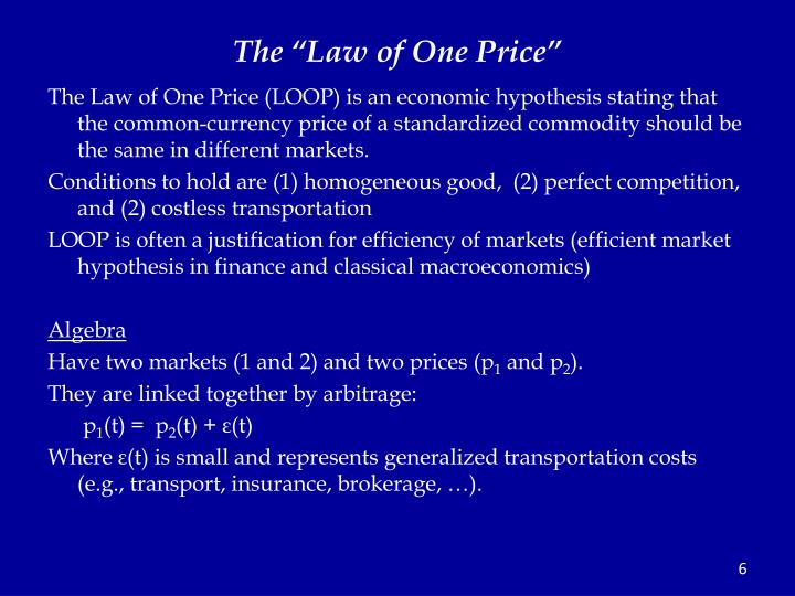 "The ""Law of One Price"""