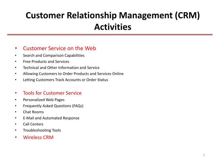 Customer Relationship Management (CRM) Activities