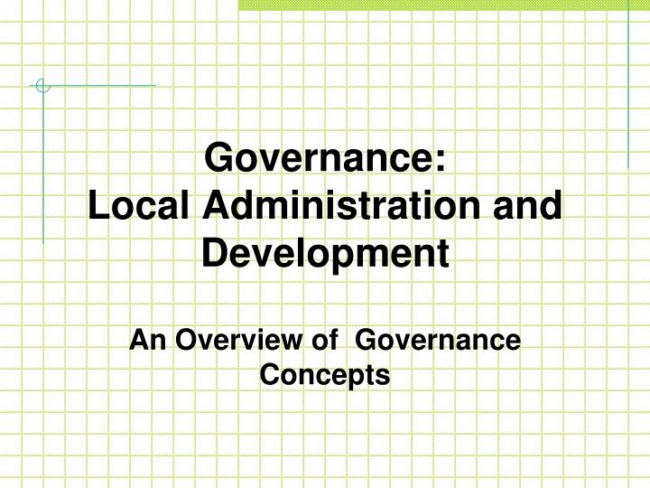 governance local administration and development n.