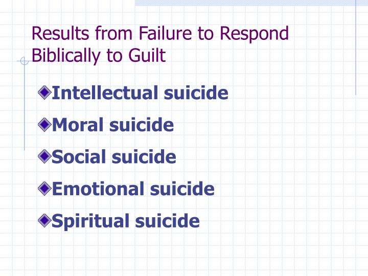 Results from Failure to Respond Biblically to Guilt