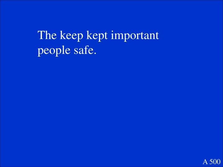 The keep kept important people safe.