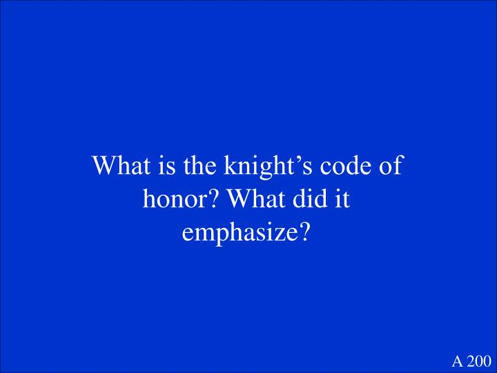What is the knight's code of honor? What did it emphasize?