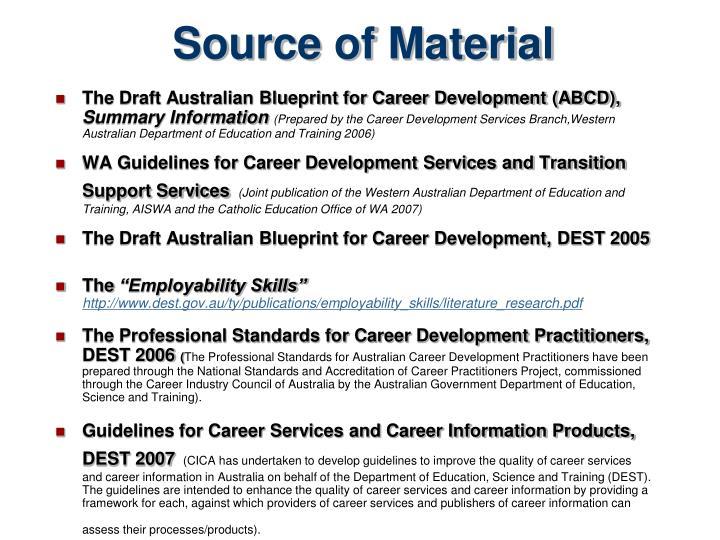 Ppt australian blueprint for career development powerpoint source of material the draft australian blueprint malvernweather Images