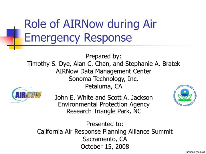 role of airnow during air emergency response