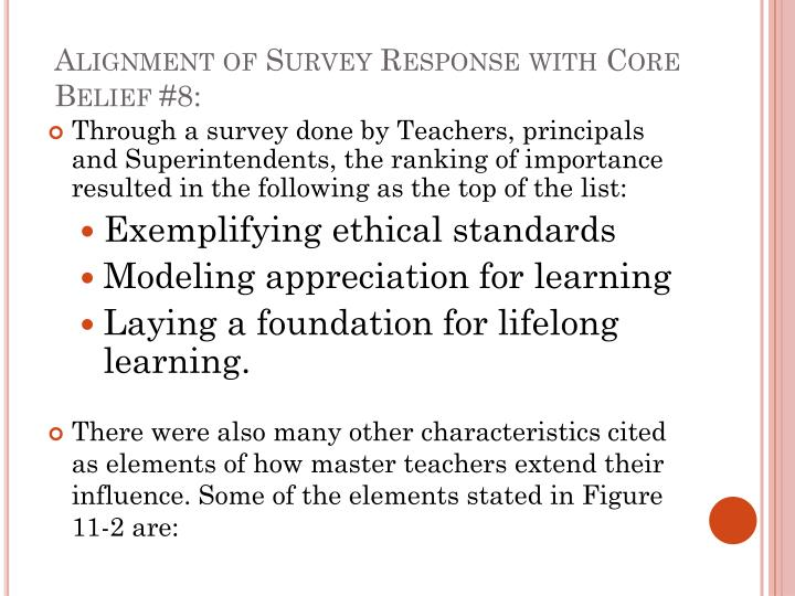 Alignment of survey response with core belief 8