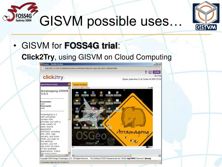 GISVM possible uses…