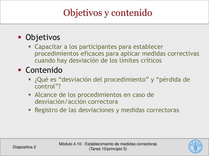 Objetivos y contenido