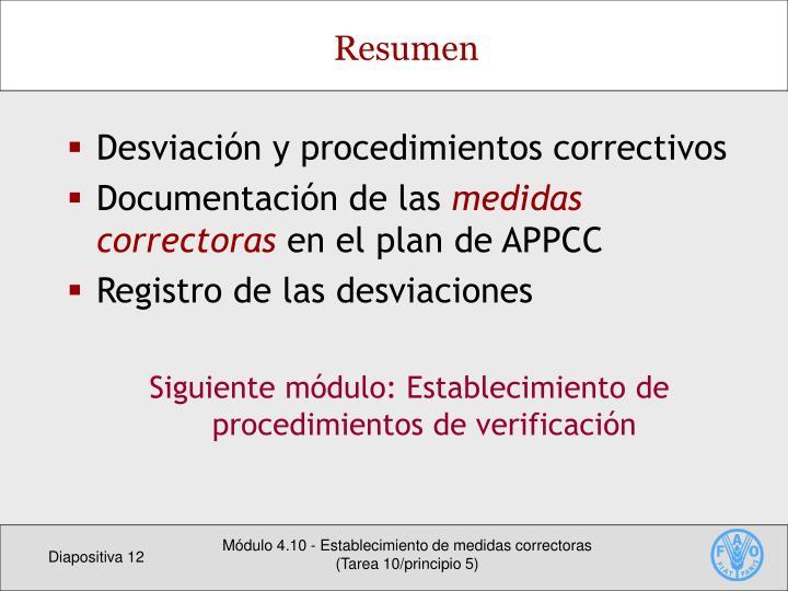 Desviación y procedimientos correctivos