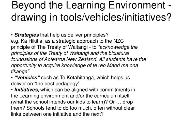 Beyond the Learning Environment -