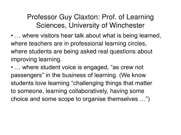 Professor Guy Claxton: Prof. of Learning