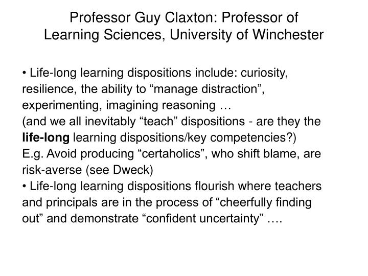 Professor Guy Claxton: Professor of